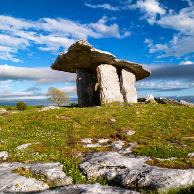 Cycling to Poulnabrone Dolmen in the Burren