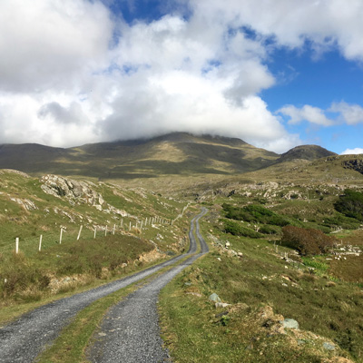 Cycling holiday on a country lane in Connemara